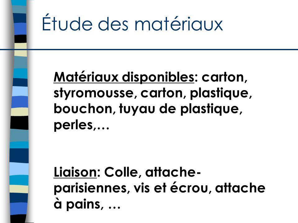 Étude des matériaux Matériaux disponibles: carton, styromousse, carton, plastique, bouchon, tuyau de plastique, perles,… Liaison: Colle, attache- pari