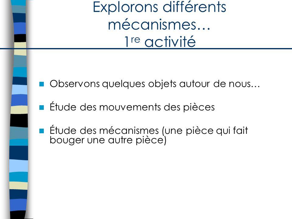 Explorons différents mécanismes… 1 re activité Observons quelques objets autour de nous… Étude des mouvements des pièces Étude des mécanismes (une piè