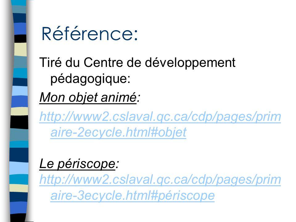 Référence: Tiré du Centre de développement pédagogique: Mon objet animé: http://www2.cslaval.qc.ca/cdp/pages/prim aire-2ecycle.html#objet Le périscope
