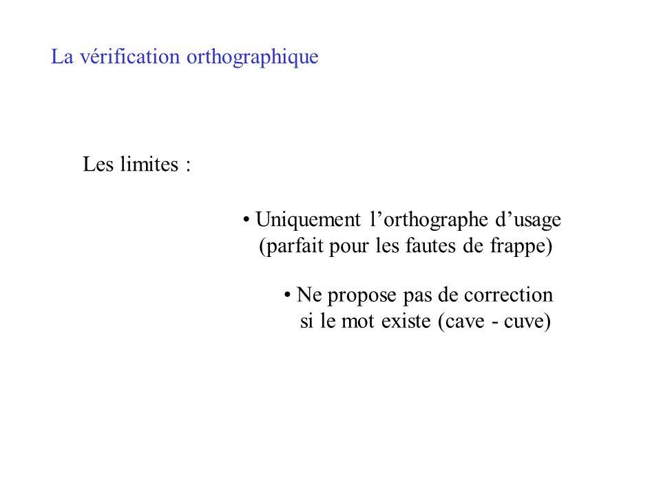 La vérification orthographique Par défaut, la vérification en cours de frappe est activée Pour la désactiver « Outils/Options/Grammaire et orthographe