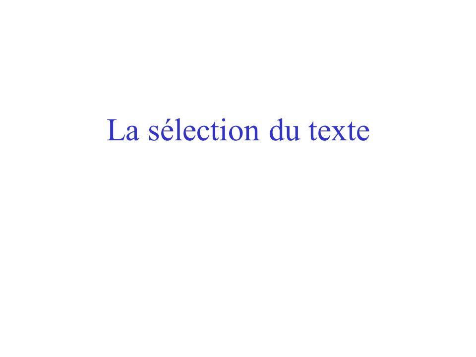 CHAPITRE VI La gestion du texte Linsertion automatique Le déplacement La sélection Couper-copier-coller