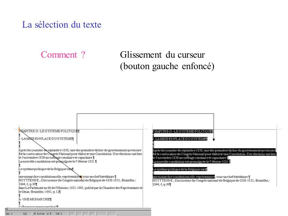 La sélection du texte Comment ?Tout le texte CTRL Clic ou triple clic