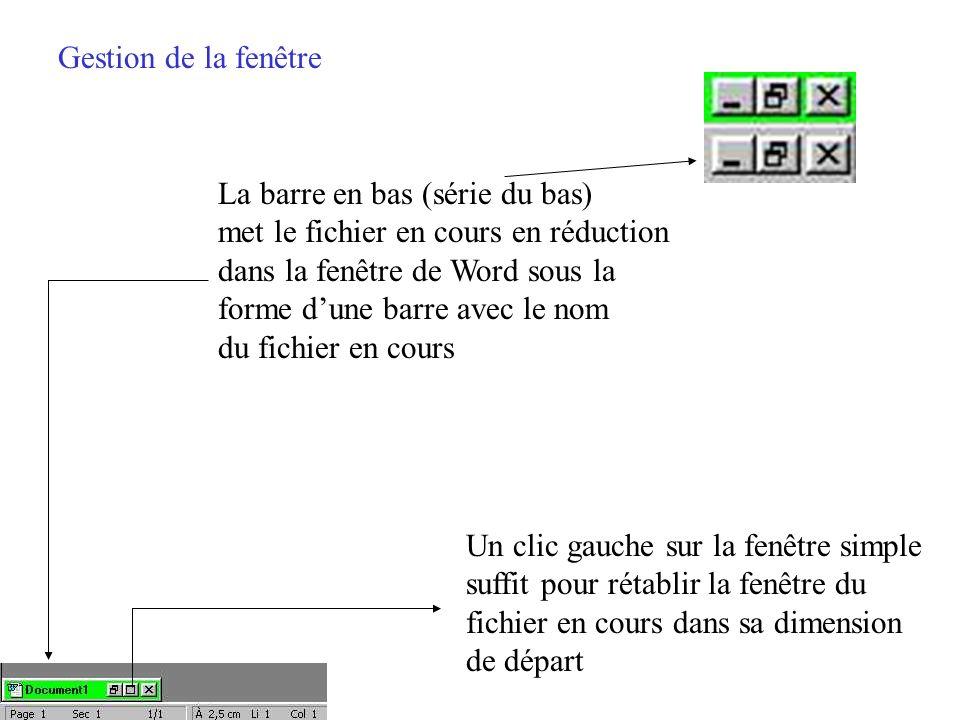 Gestion de la fenêtre La barre en bas (série du haut) met Word en réduction en bas de lécran sous la forme dune barre avec le nom du fichier en cours