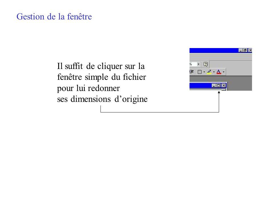 Gestion de la fenêtre Cliquer sur la double fenêtre (série du bas) permet de donner des dimensions réduites au fichier en cours dans la fenêtre Word
