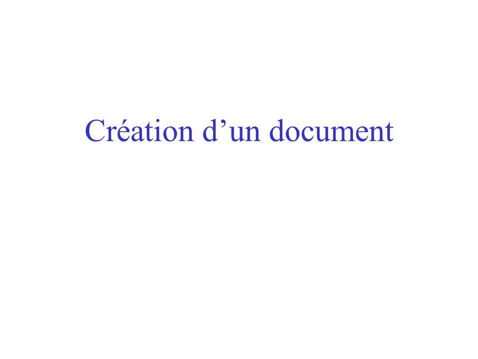 CHAPITRE III Le document Ouverture Sauvegarde Création