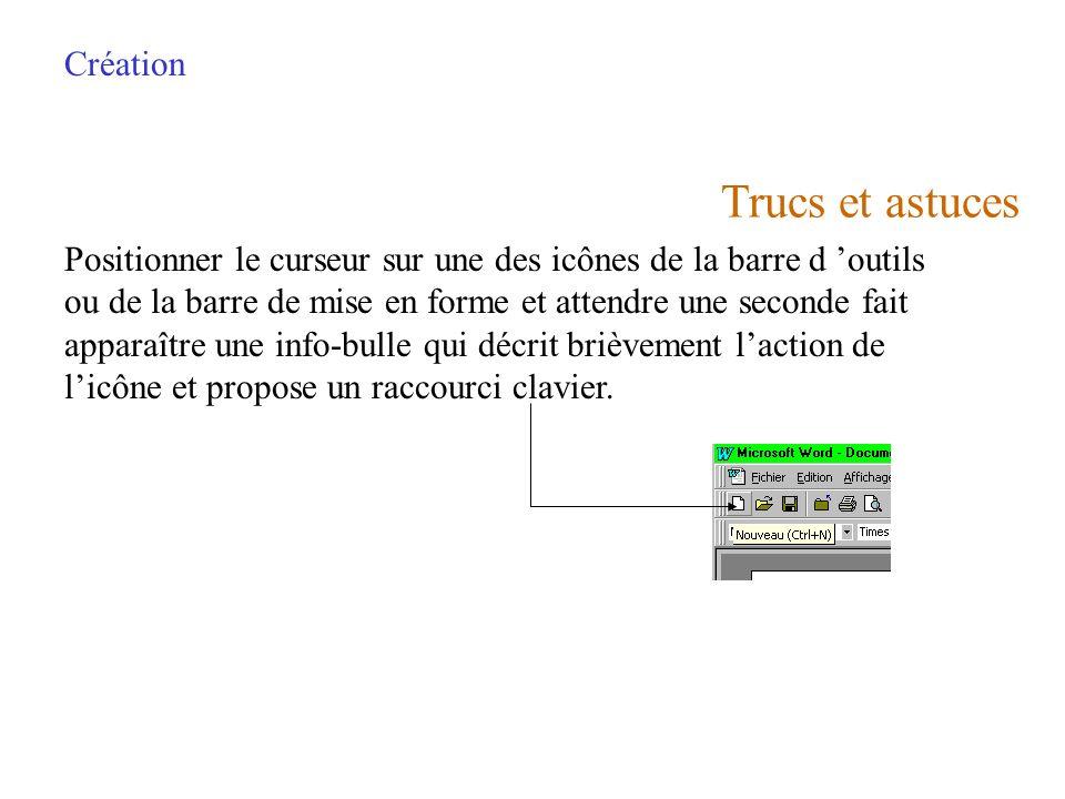 Création Lors de louverture dun deuxième document, ce dernier cache le précédent. Son nom est affiché dans la barre de titre. Pour visualiser les deux