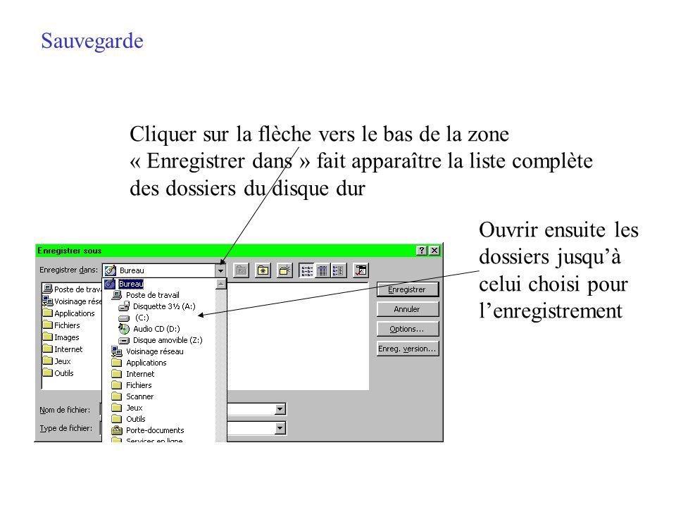 Sauvegarde Apparaît alors la boîte de dialogue des paramètres de l enregistrement Dans la fenêtre se trouve la liste des dossiers du disque dur