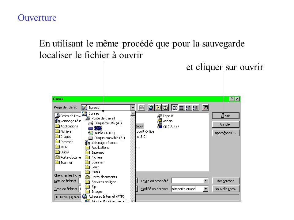 Ouverture Cliquer sur « Fichier/Ouvrir » ou cliquer sur la deuxième icône de la barre doutils fait apparaître la boîte de dialogue douverture des fich
