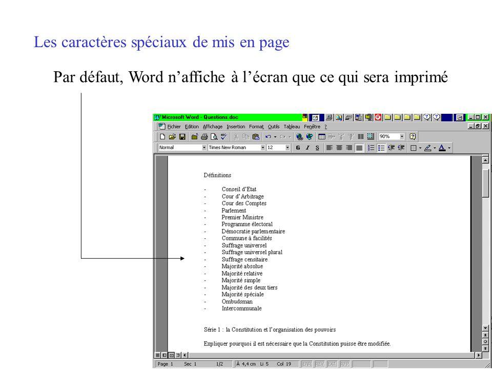 Les caractères spéciaux de mise en page