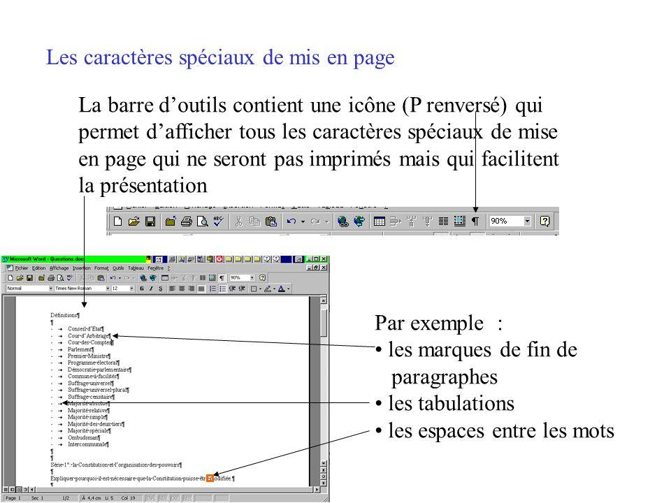 Les caractères spéciaux de mis en page Par défaut, Word naffiche à lécran que ce qui sera imprimé