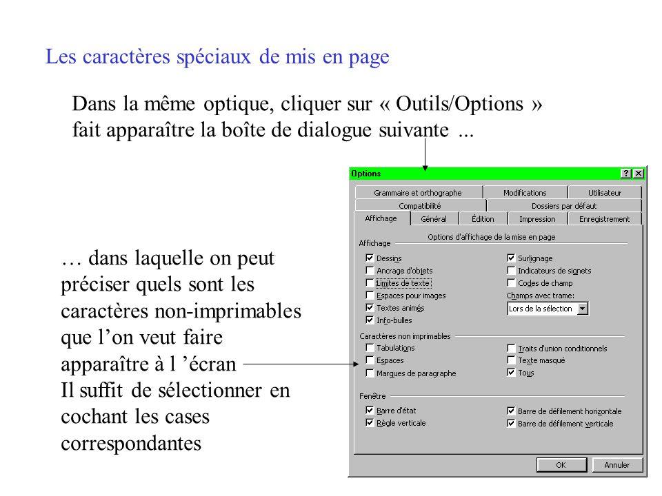 Les caractères spéciaux de mis en page La barre doutils contient une icône (P renversé) qui permet dafficher tous les caractères spéciaux de mise en p
