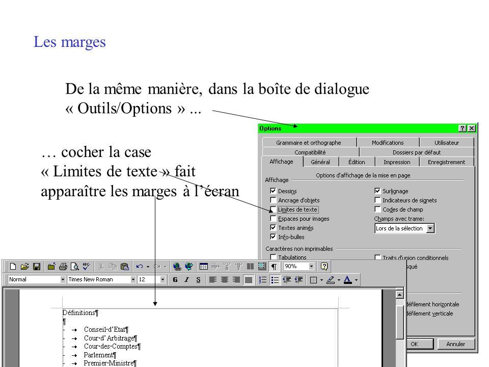 Les marges ou limites de texte