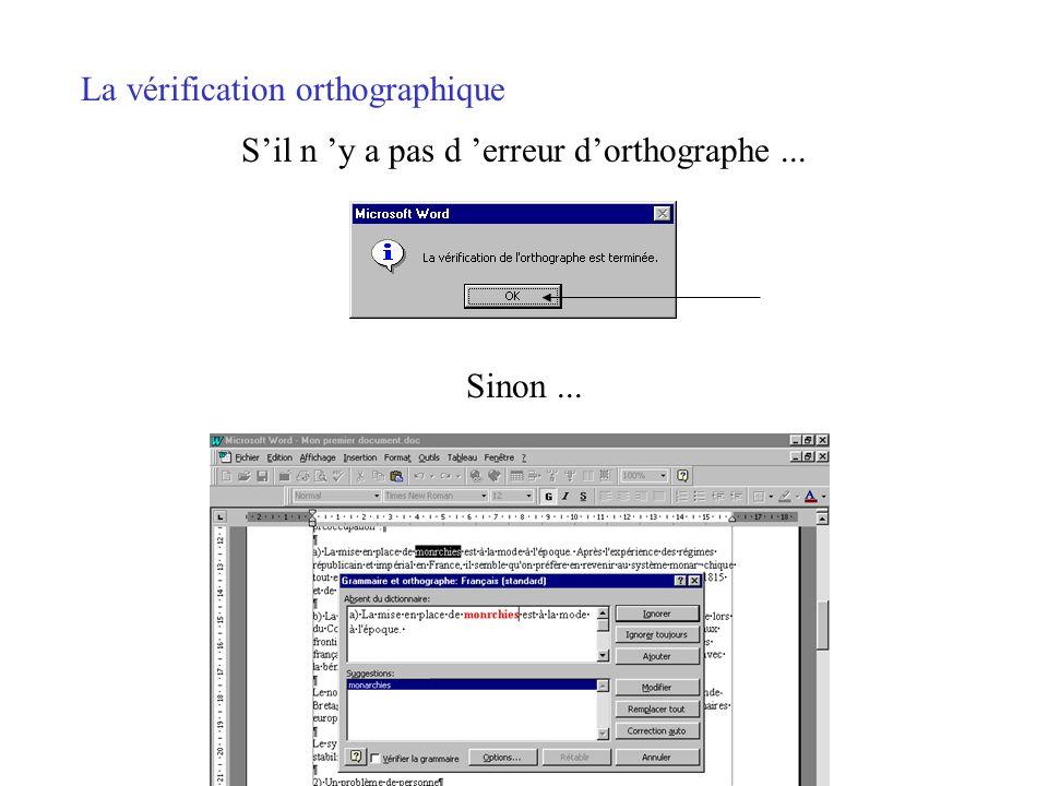 La vérification orthographique Positionner le curseur en début de texte. Trois accès possibles... Outils/Grammaire et orthographe Icône de la barre do