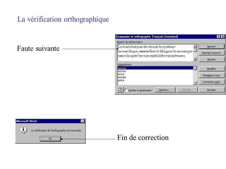 La vérification orthographique Mot fautif Corriger manuellement Choisir une suggestion Modifier... … ou ignorer