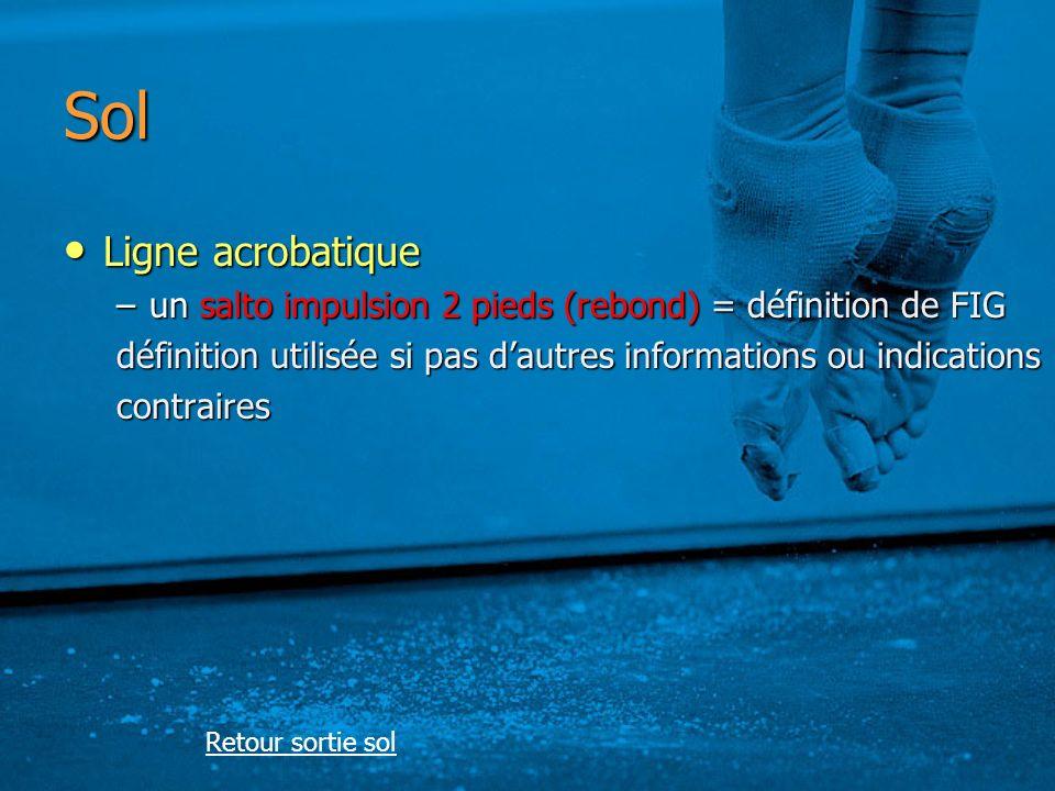 Sol Ligne acrobatique Ligne acrobatique –un salto impulsion 2 pieds (rebond) = définition de FIG définition utilisée si pas dautres informations ou indications contraires Retour sortie sol