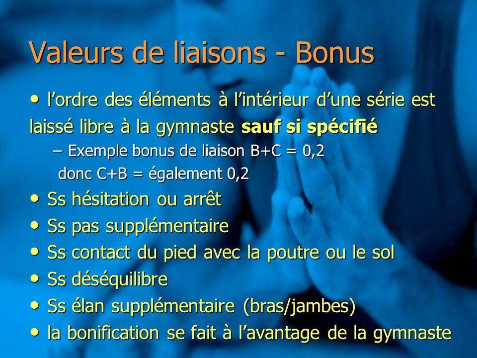 Valeurs de liaisons - Bonus lordre des éléments à lintérieur dune série est lordre des éléments à lintérieur dune série est laissé libre à la gymnaste
