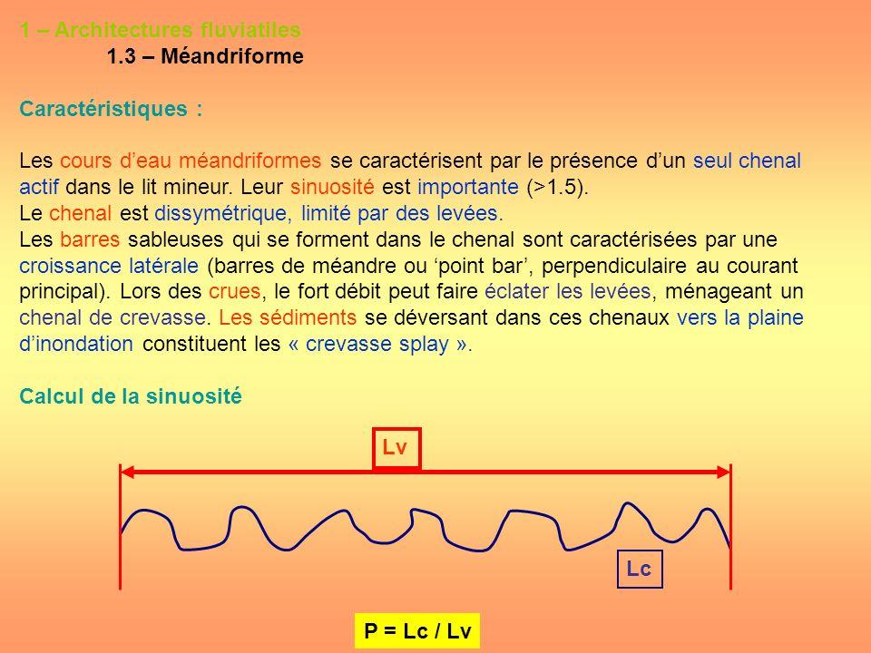 1 – Architectures fluviatiles 1.3 – Méandriforme Caractéristiques : Les cours deau méandriformes se caractérisent par le présence dun seul chenal acti