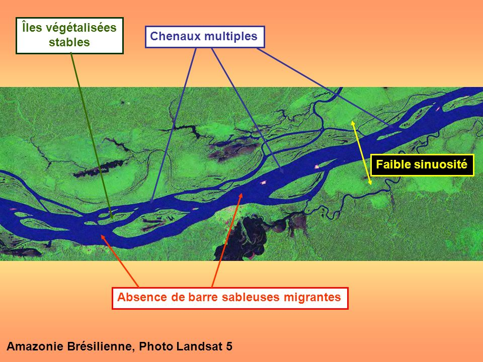 Amazonie Brésilienne, Photo Landsat 5 Chenaux multiples Faible sinuosité Absence de barre sableuses migrantes Îles végétalisées stables