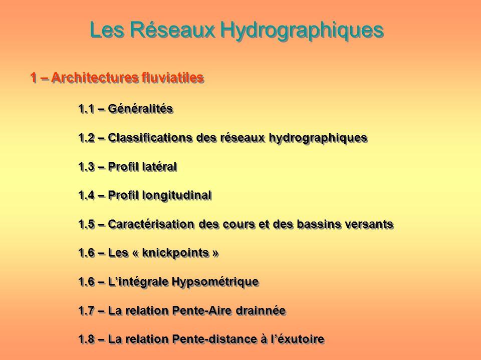 Les Réseaux Hydrographiques 1 – Architectures fluviatiles 1.1 – Généralités 1.2 – Classifications des réseaux hydrographiques 1.3 – Profil latéral 1.4