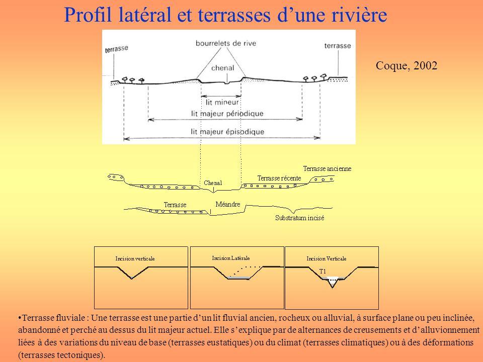 Profil latéral et terrasses dune rivière Coque, 2002 Terrasse fluviale : Une terrasse est une partie dun lit fluvial ancien, rocheux ou alluvial, à su