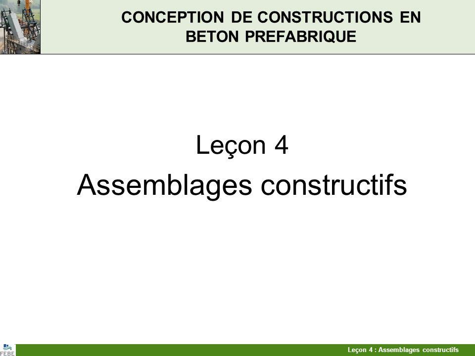 Leçon 4 : Assemblages constructifs CONCEPTION DE CONSTRUCTIONS EN BETON PREFABRIQUE Leçon 4 Assemblages constructifs