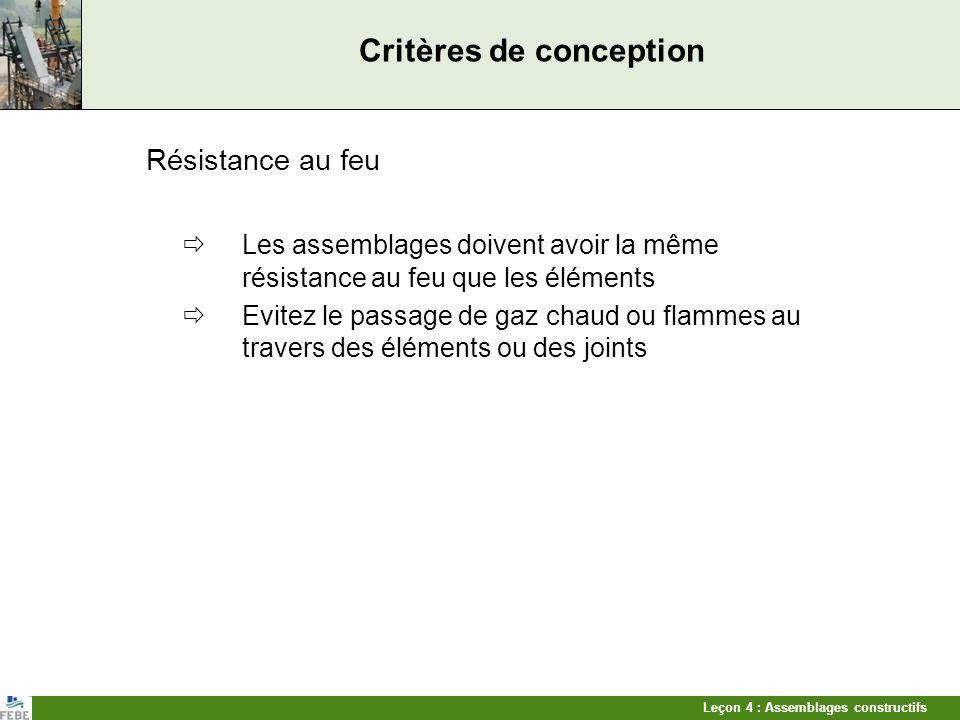 Leçon 4 : Assemblages constructifs Critères de conception Résistance au feu Les assemblages doivent avoir la même résistance au feu que les éléments E