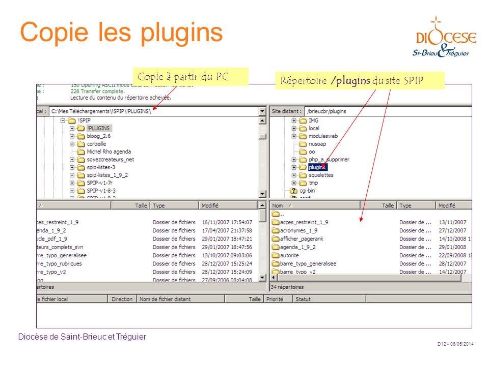 D12 - 06/05/2014 Diocèse de Saint-Brieuc et Tréguier Copie les plugins Répertoire /plugins du site SPIP Copie à partir du PC