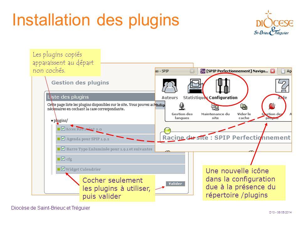 D13 - 06/05/2014 Diocèse de Saint-Brieuc et Tréguier Installation des plugins Une nouvelle icône dans la configuration due à la présence du répertoire