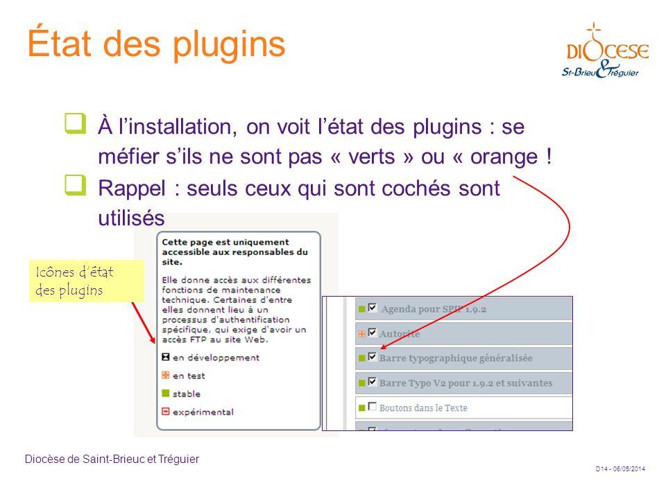 D14 - 06/05/2014 Diocèse de Saint-Brieuc et Tréguier État des plugins À linstallation, on voit létat des plugins : se méfier sils ne sont pas « verts