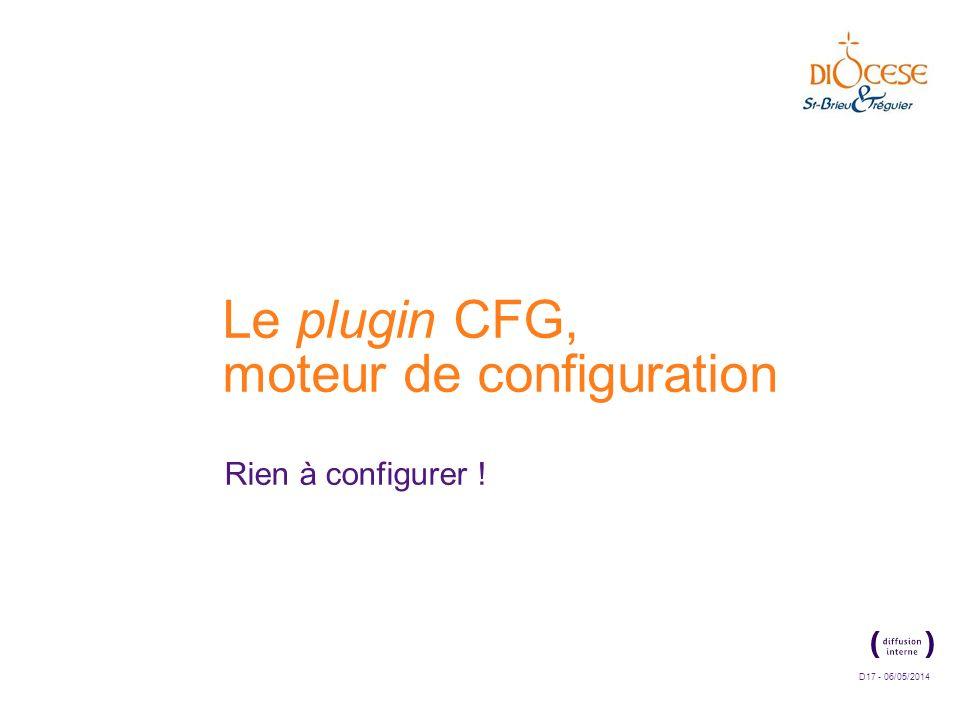 D17 - 06/05/2014 Le plugin CFG, moteur de configuration Rien à configurer !