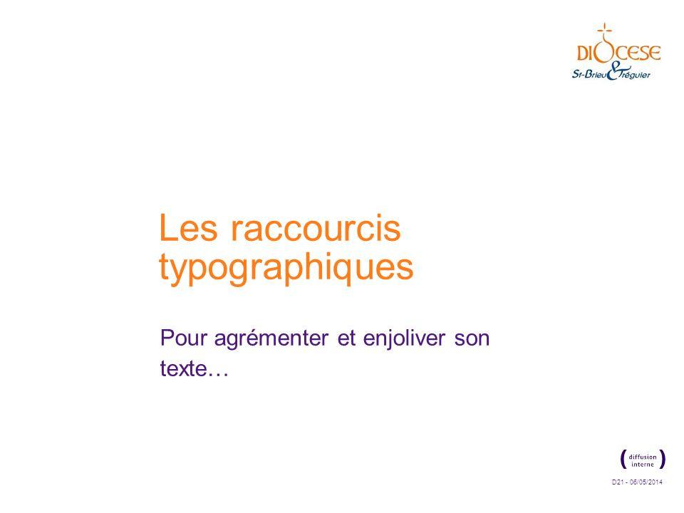 D21 - 06/05/2014 Les raccourcis typographiques Pour agrémenter et enjoliver son texte…