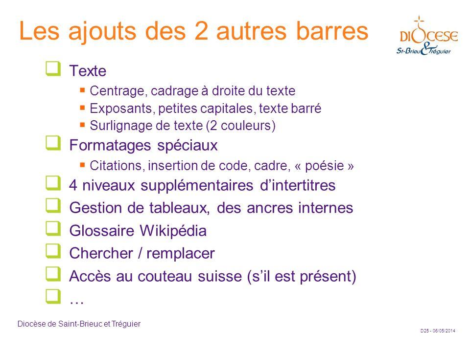 D25 - 06/05/2014 Diocèse de Saint-Brieuc et Tréguier Les ajouts des 2 autres barres Texte Centrage, cadrage à droite du texte Exposants, petites capit
