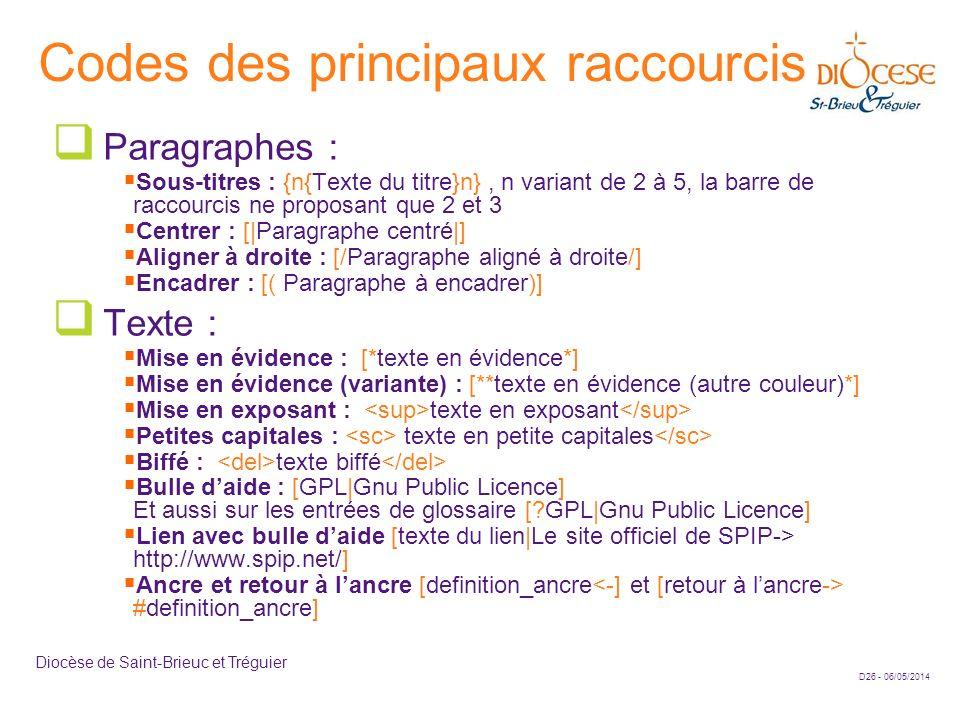 D26 - 06/05/2014 Diocèse de Saint-Brieuc et Tréguier Codes des principaux raccourcis Paragraphes : Sous-titres : {n{Texte du titre}n}, n variant de 2