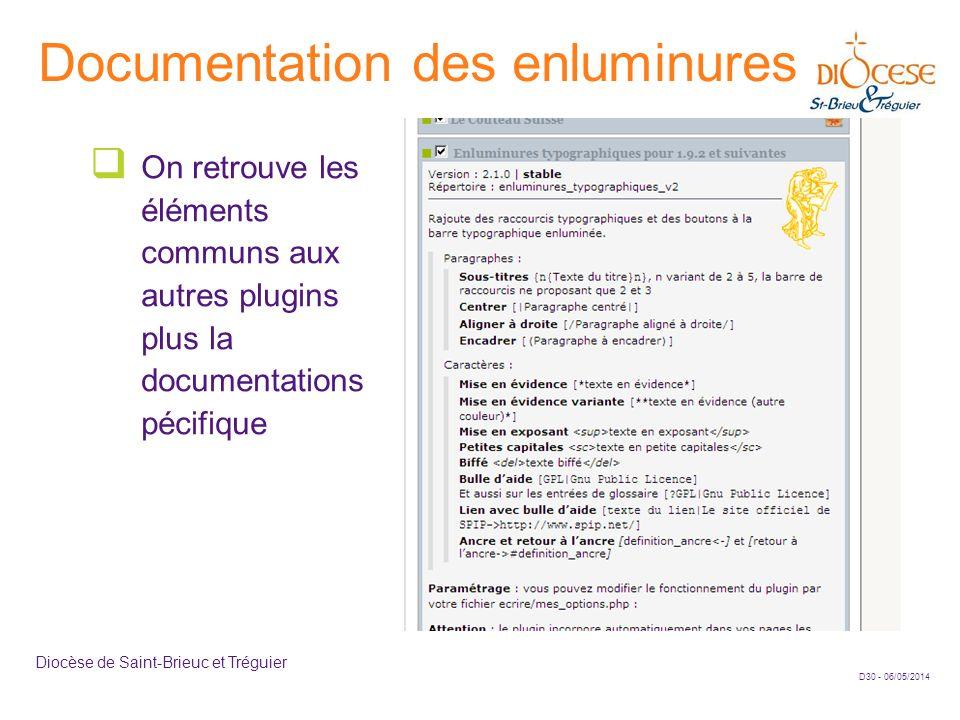D30 - 06/05/2014 Diocèse de Saint-Brieuc et Tréguier Documentation des enluminures On retrouve les éléments communs aux autres plugins plus la documen