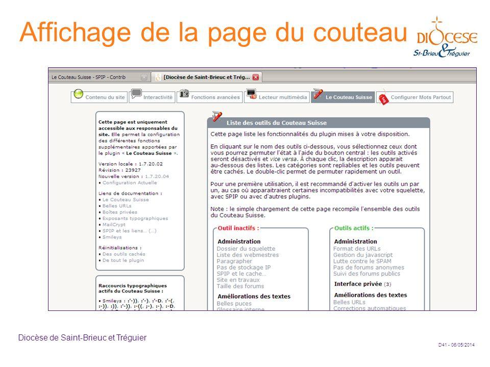D41 - 06/05/2014 Diocèse de Saint-Brieuc et Tréguier Affichage de la page du couteau