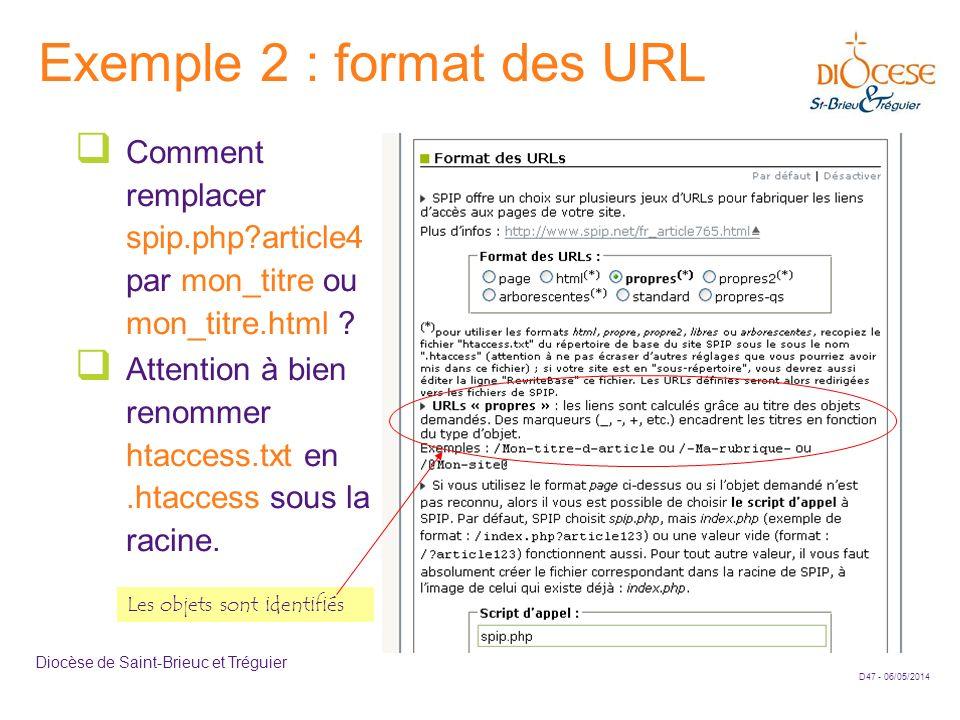D47 - 06/05/2014 Diocèse de Saint-Brieuc et Tréguier Exemple 2 : format des URL Comment remplacer spip.php?article4 par mon_titre ou mon_titre.html ?