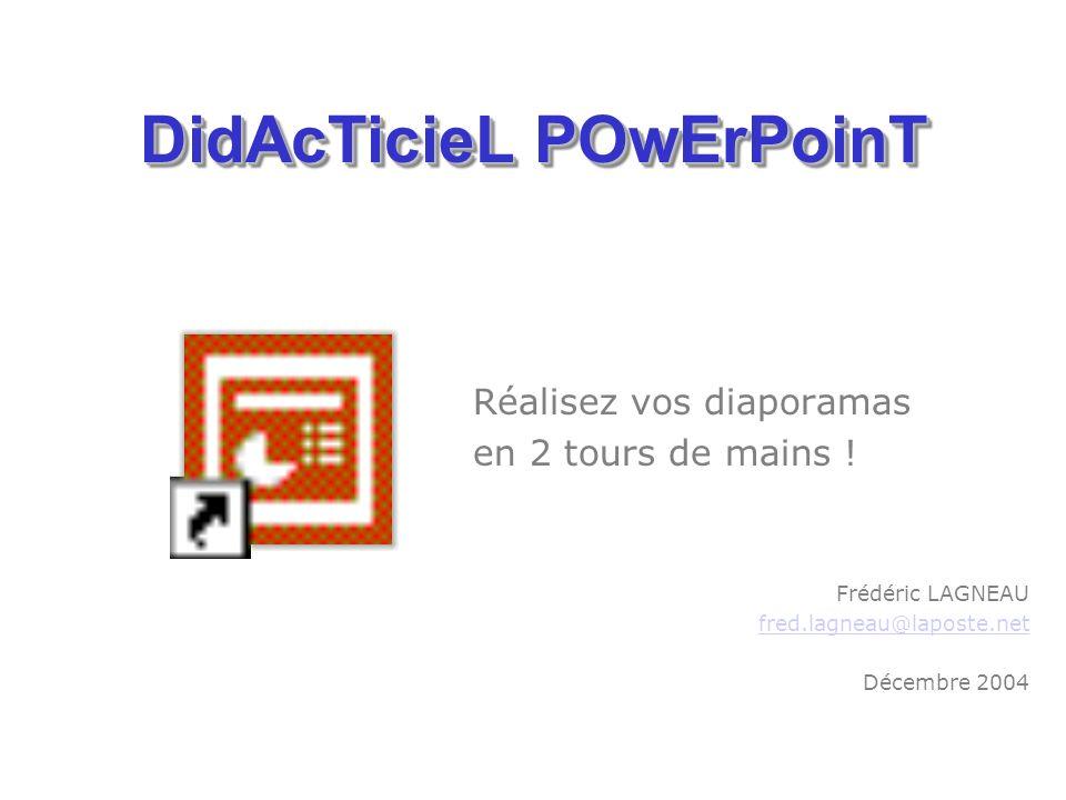 Cliquer sur licône du programme pour louvrir DIDACTICIEL – Frédéric LAGNEAU – 2004/2005