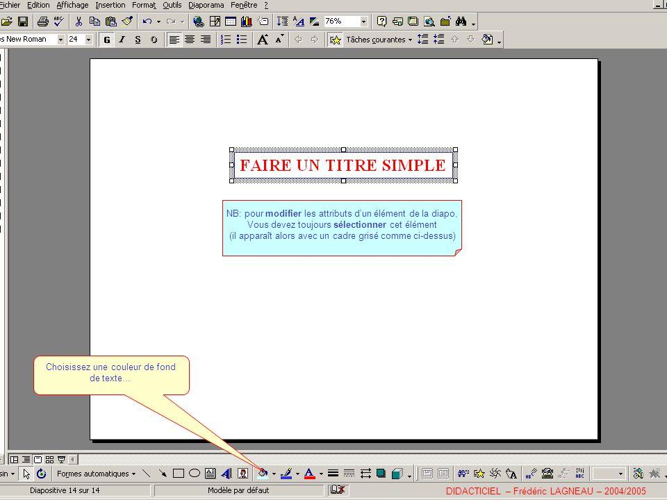 NB: pour modifier les attributs dun élément de la diapo, Vous devez toujours sélectionner cet élément (il apparaît alors avec un cadre grisé comme ci-dessus) DIDACTICIEL – Frédéric LAGNEAU – 2004/2005 Choisissez une couleur de fond de texte…