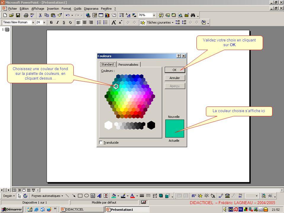 Choisissez une couleur de fond sur la palette de couleurs, en cliquant dessus… La couleur choisie saffiche ici Validez votre choix en cliquant sur OK DIDACTICIEL – Frédéric LAGNEAU – 2004/2005