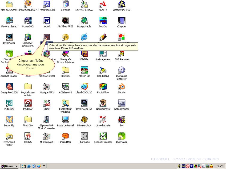 La barre doutils Dessin Cliquez ici pour accéder À un menu de diverses fonctions très utiles… DIDACTICIEL – Frédéric LAGNEAU – 2004/2005