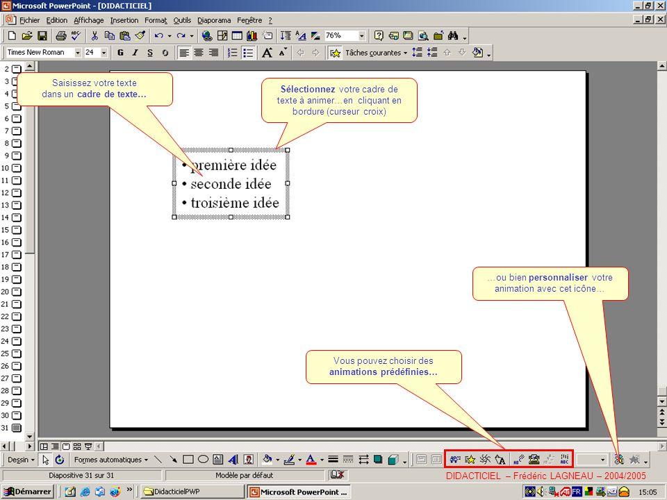 Saisissez votre texte dans un cadre de texte… Sélectionnez votre cadre de texte à animer…en cliquant en bordure (curseur croix) Vous pouvez choisir des animations prédéfinies… …ou bien personnaliser votre animation avec cet icône… DIDACTICIEL – Frédéric LAGNEAU – 2004/2005