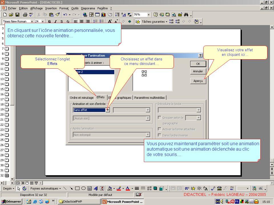 En cliquant sur licône animation personnalisée, vous obtenez cette nouvelle fenêtre… Sélectionnez longlet Effets Choisissez un effet dans ce menu déroulant… Visualisez votre effet en cliquant ici… Vous pouvez maintenant paramétrer soit une animation automatique soit une animation déclenchée au clic de votre souris… DIDACTICIEL – Frédéric LAGNEAU – 2004/2005