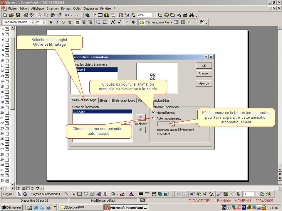 Sélectionnez longlet Ordre et Minutage Cliquez ici pour une animation manuelle au clavier ou à la souris Cliquez ici pour une animation automatique Sélectionnez ici le temps (en secondes) pour faire apparaître cette animation automatiquement DIDACTICIEL – Frédéric LAGNEAU – 2004/2005