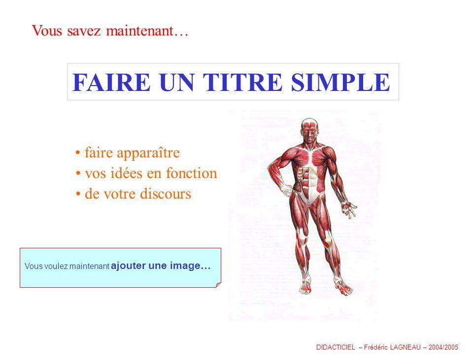 Vous savez maintenant… FAIRE UN TITRE SIMPLE faire apparaître vos idées en fonction de votre discours Vous voulez maintenant ajouter une image… DIDACTICIEL – Frédéric LAGNEAU – 2004/2005