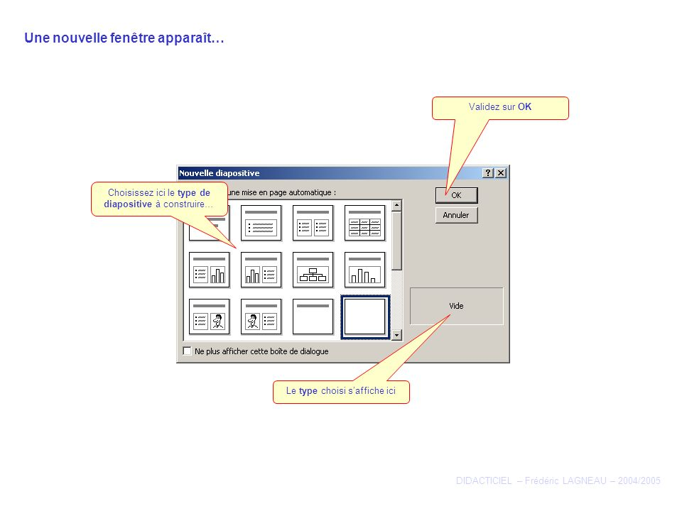 Une nouvelle fenêtre apparaît… DIDACTICIEL – Frédéric LAGNEAU – 2004/2005 Choisissez ici le type de diapositive à construire… Le type choisi saffiche ici Validez sur OK