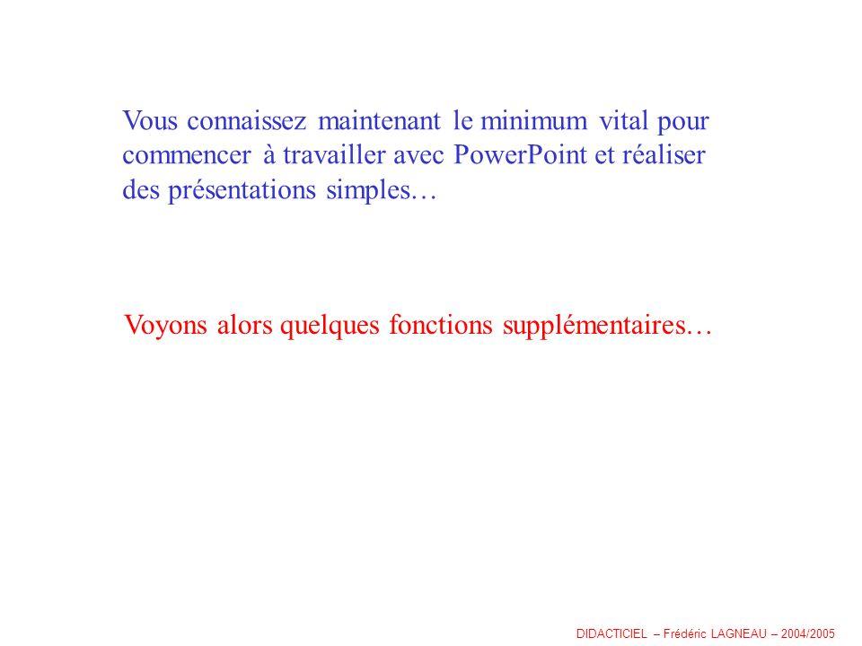 Vous connaissez maintenant le minimum vital pour commencer à travailler avec PowerPoint et réaliser des présentations simples… Voyons alors quelques fonctions supplémentaires… DIDACTICIEL – Frédéric LAGNEAU – 2004/2005