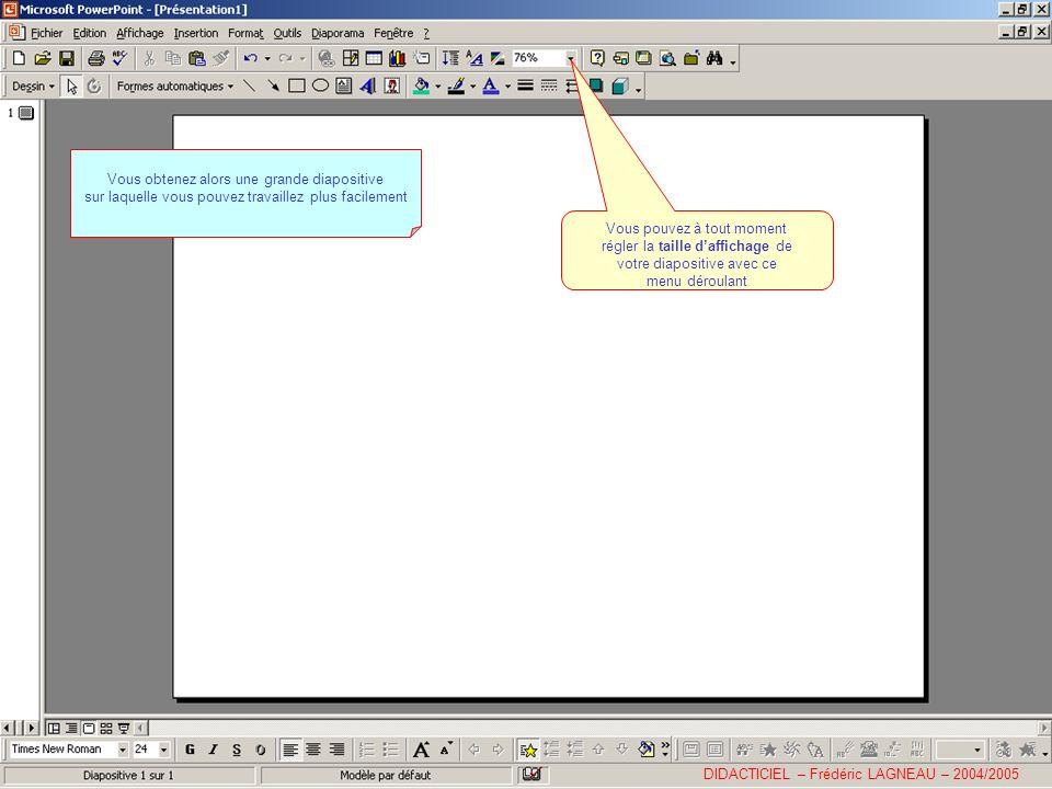 DIDACTICIEL – Frédéric LAGNEAU – 2004/2005 Vous obtenez alors une grande diapositive sur laquelle vous pouvez travaillez plus facilement Vous pouvez à tout moment régler la taille daffichage de votre diapositive avec ce menu déroulant