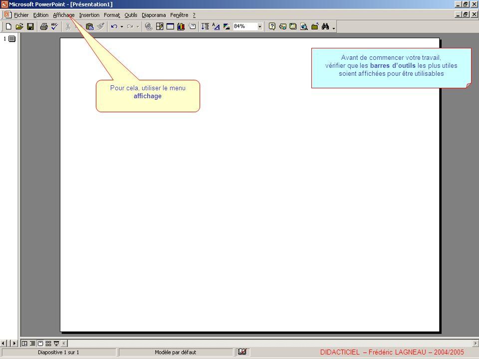 Le menu Formes automatiques Permet de dessiner toute une série de formes pour illustrer des diapositives ou réaliser des schémas… DIDACTICIEL – Frédéric LAGNEAU – 2004/2005