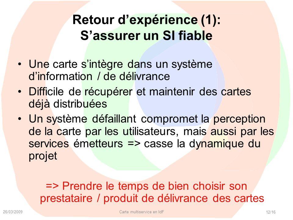 26/03/2009 Carte multiservice en IdF 12/16 Retour dexpérience (1): Sassurer un SI fiable Une carte sintègre dans un système dinformation / de délivran