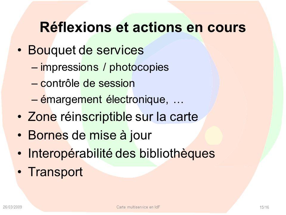 26/03/2009 Carte multiservice en IdF 15/16 Réflexions et actions en cours Bouquet de services –impressions / photocopies –contrôle de session –émargem